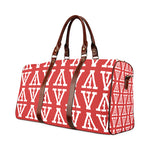 F-FIVE TRAVEL BAG BROWN STRAP RED/WHITE