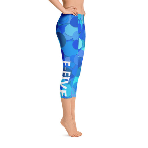 Blue Multi Color F-FIVE Capri Leggings