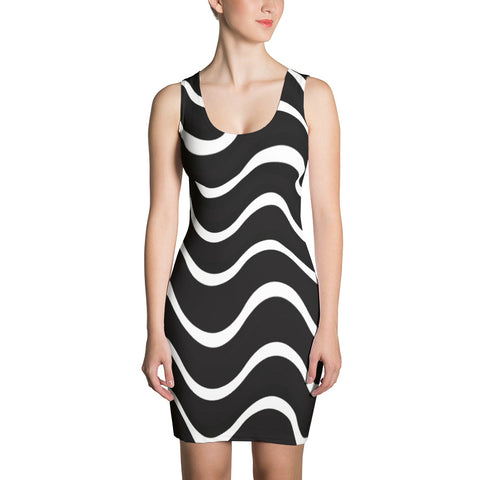 F-FIVE La Reyna Fitted Dress (blk/wht wavy lines)