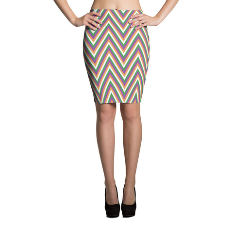 F-FIVE LA Reyna Fitted Pencil Skirt (zigzag)