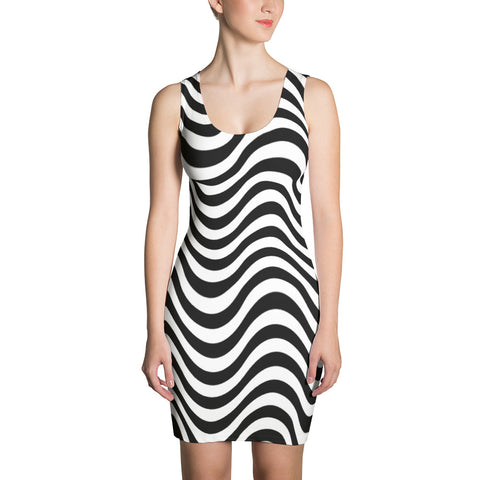 F-FIVE La Reyna Fitted Dress (Wavy Lines)
