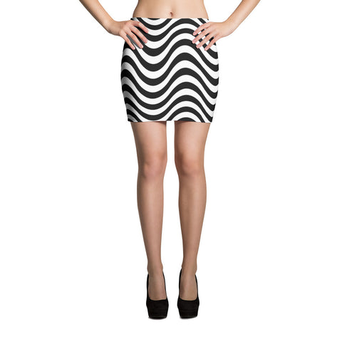 F-FIVE LA Reyna Fitted Mini Skirt (Wavy Lines)