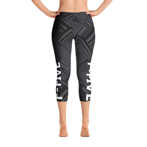 Black/Grey F-FIVE Capri Leggings