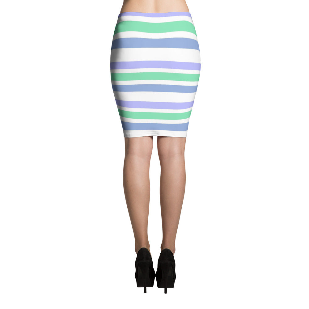 F-FIVE LA Reyna Fitted Pencil Skirt (stripes)