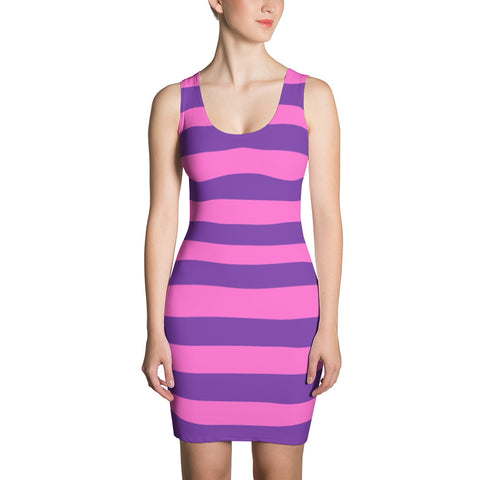 F-FIVE La Reyna Fitted Dress (pink/purple stripes)