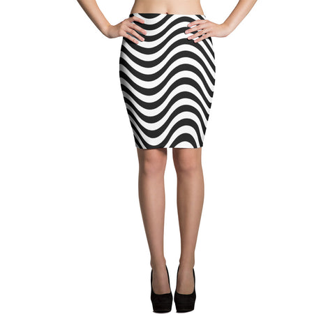 F-FIVE La Reyna Fitted Pencil Skirt (wavy lines)