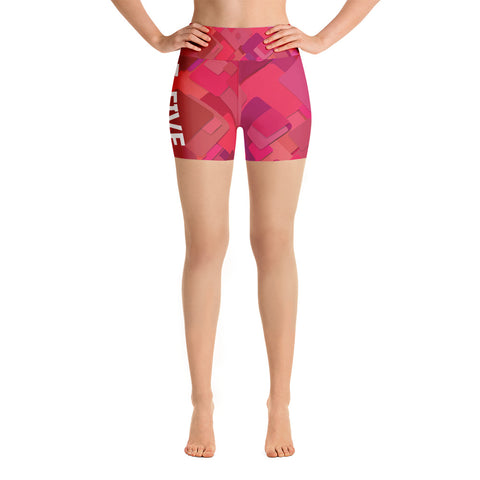 Pink Multi Color F-FIVE Yoga Shorts