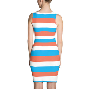 F-FIVE La Reyna Fitted Dress (blue/orange stripes)