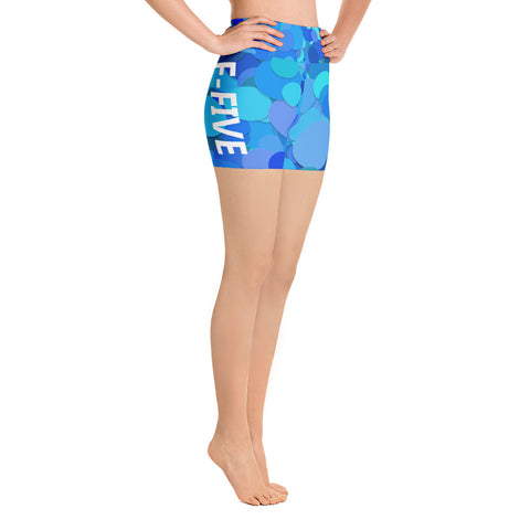 Blue Multi Color F-FIVE Yoga Shorts