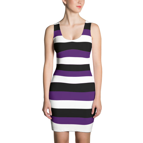 F-FIVE LA Reyna Fitted Dress (Blk/Wht/Purp Stripes)