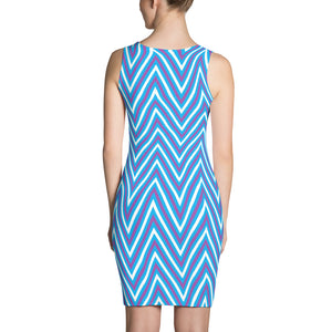 F-FIVE La Reyna Fitted Dress (blu/purp/wht Zig Zags)