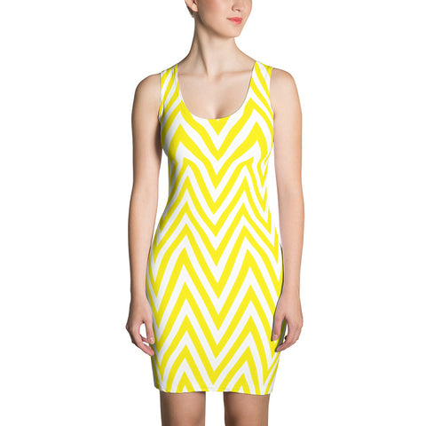 F-FIVE La Reyna Fitted Dress (yellow/white Zig Zag)