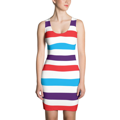 F-FIVE La Reyna Fitted Dress (blu/purp/red stripes)