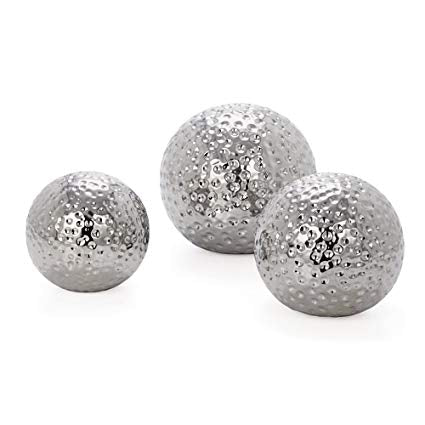 Hammered Ceramic Decor Balls Set of 3 - Chrome