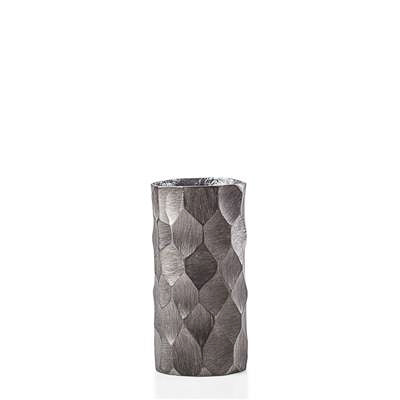 Linus Chiseled Brushed Cylinder Vase Small - Graphite