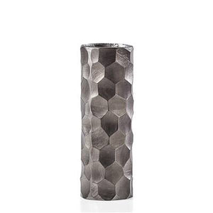 Linus Chiseled Brushed Cylinder Vase Medium - Graphite