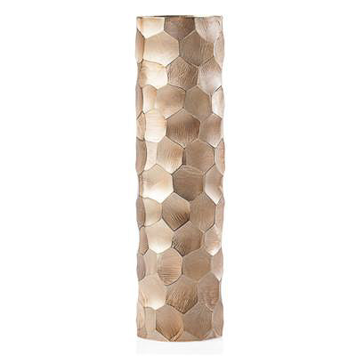 Linus Chiseled Brushed Cylinder Vase Large - Gold