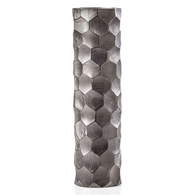 Linus Chiseled Brushed Cylinder Vase Large - Graphite