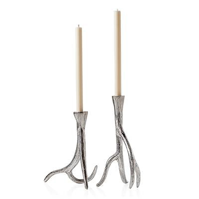 Antler Aluminum Taper Candle Holders Set of 2
