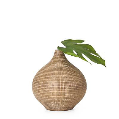 "Taka Etched Grid 9.5"" Vase - Light Brown"
