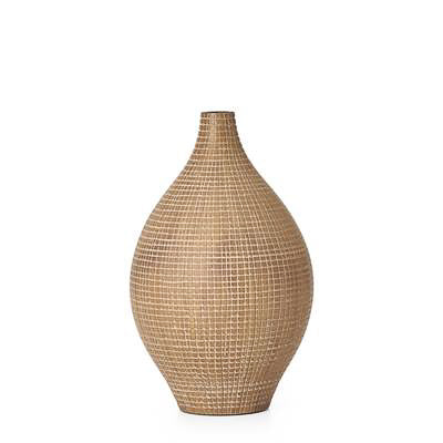 "Taka Etched Grid 12.5"" Vase - Light Brown"