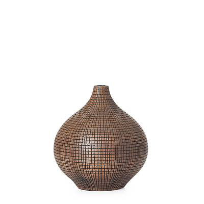 "Taka Etched Grid 9.5"" Vase - Dark Brown"