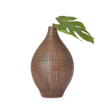 "Taka Etched Grid 12.5"" Vase - Dark Brown"