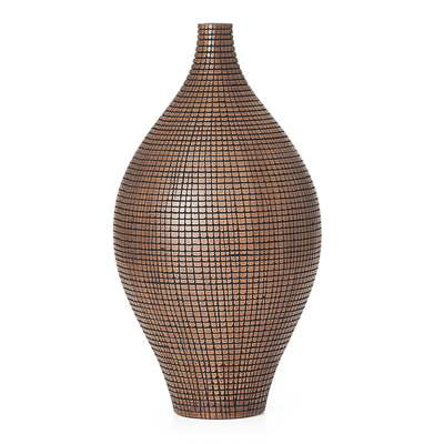 "Taka Etched Grid 16.5"" Vase - Dark Brown"