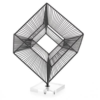 "3D Radiant Cube 16"" Decor Sculpture - Black"