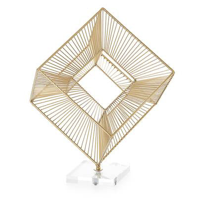 "3D Radiant Cube 16"" Decor Sculpture - Gold"