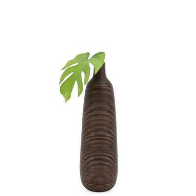 "Colombo Ribbed 18"" Bottle Vase - Brown"