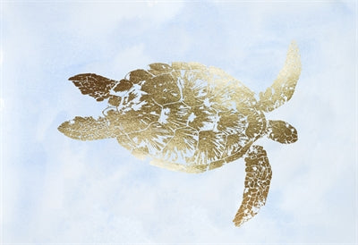 Gold Foil Sea Turtle I on Blue Wash