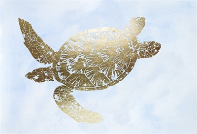Gold Foil Sea Turtle II on Blue Wash