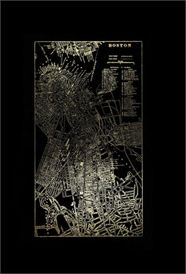 Gold Foil City Map Boston on Black