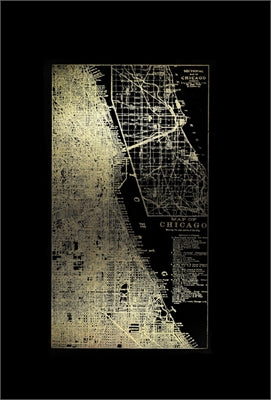 Gold Foil City Map Chicago on Black