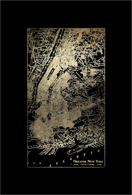 Gold Foil City Map New York on Black