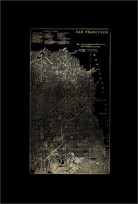Gold Foil City Map San Francisco on Black
