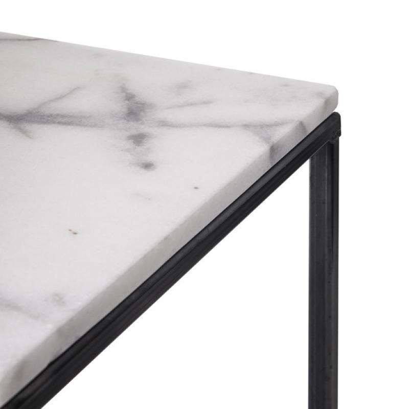 Side table white marble 30x30