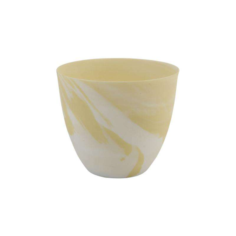 &klevering tea light holder marble print small yellow