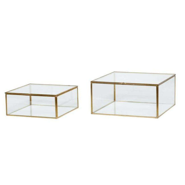 Showcase glass with brass frame
