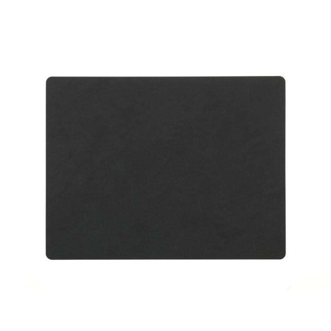 Linddna placemat rectangular black leather nupo