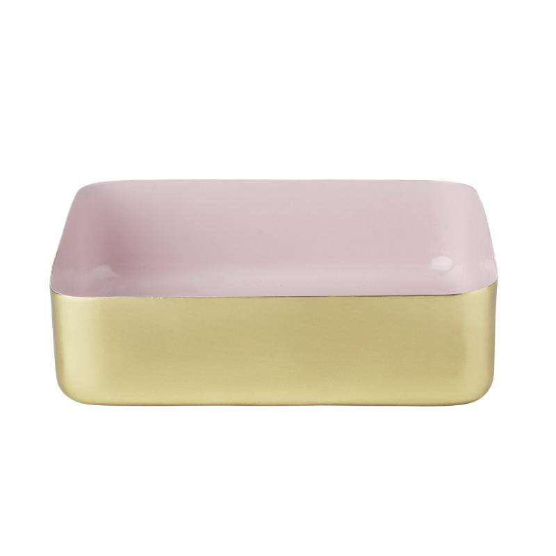 Louise Roe Copenhagen metal tray large brass/pink