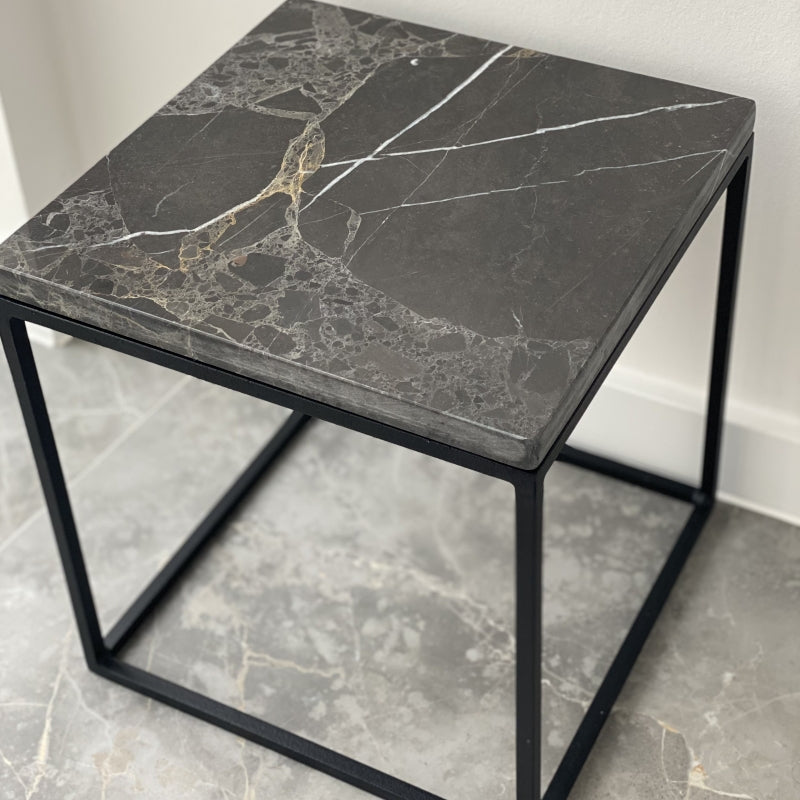 Marble side table 30x30 grey