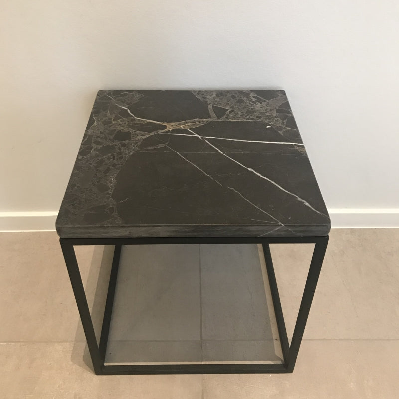 Marble side table grey 40x40