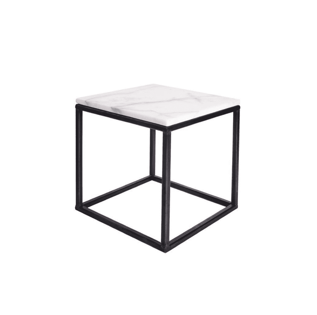Stoned marble side table 30x30 white