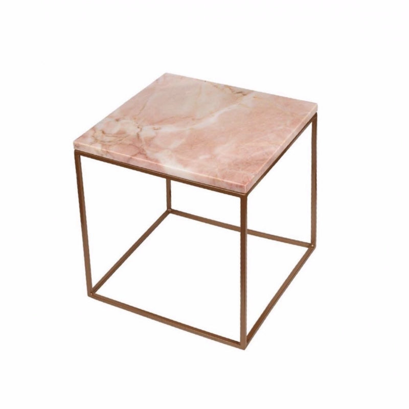 Stoned Marble side table 30x30 pink