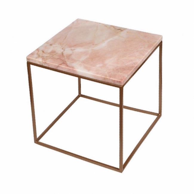 Marble side table 40x40 pink