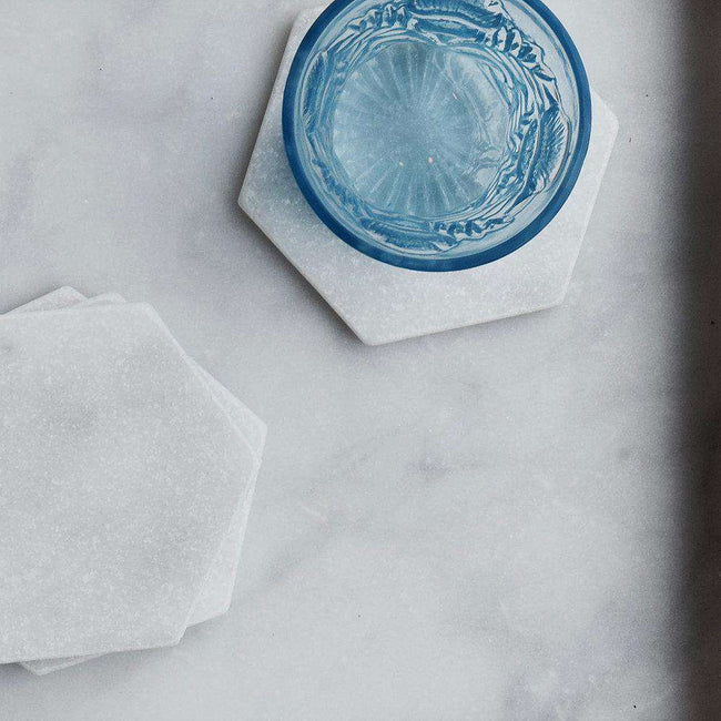 Hexagon coasters marble 4 pcs