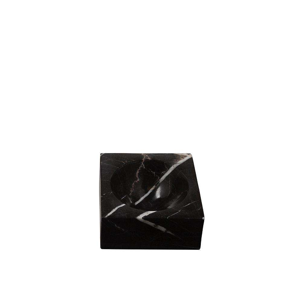 Black marble block bowl Stoned Marble