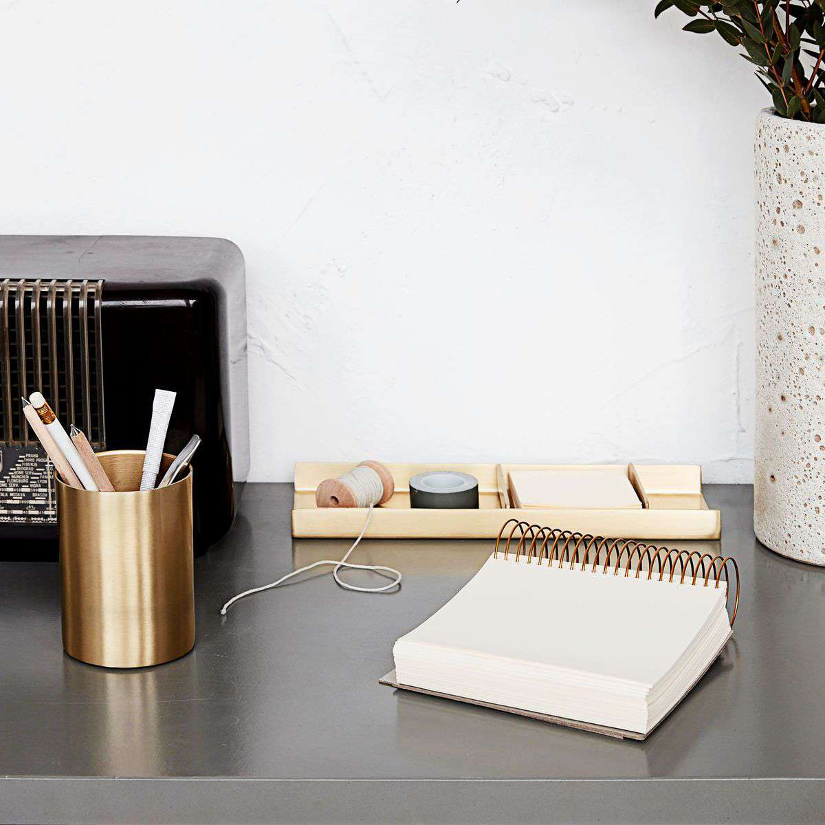 Stationary Organizer brass